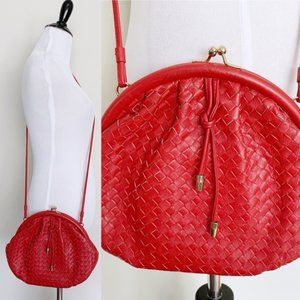 Vintage 80s Red Leather Kiss Lock Crossbody Purse